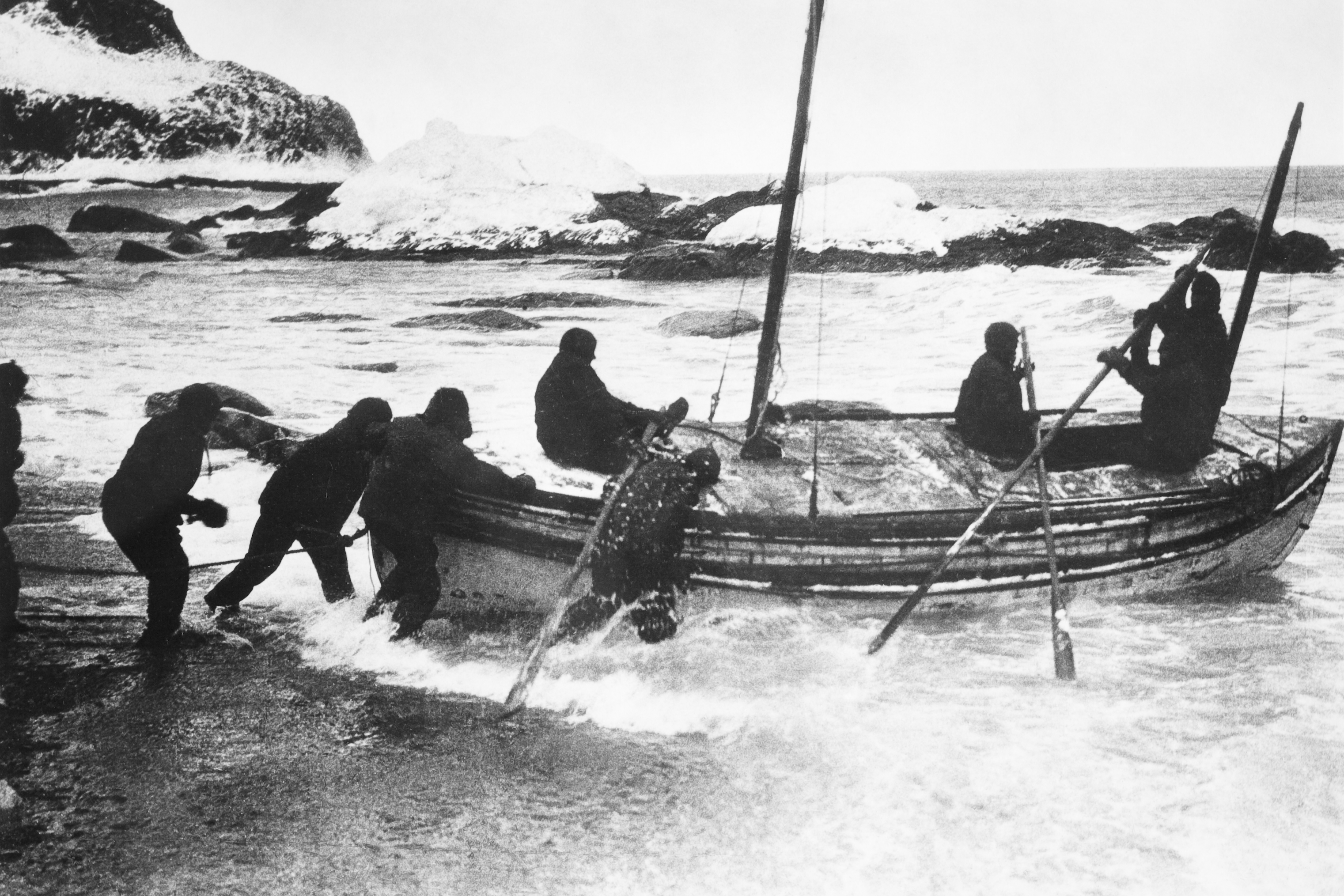 The greatest survival story ever undertaken: Sir Ernest Shackleton and five men embarked on an 800-mile voyage across the notoriously treacherous Southern Ocean in the lifeboat James Caird.