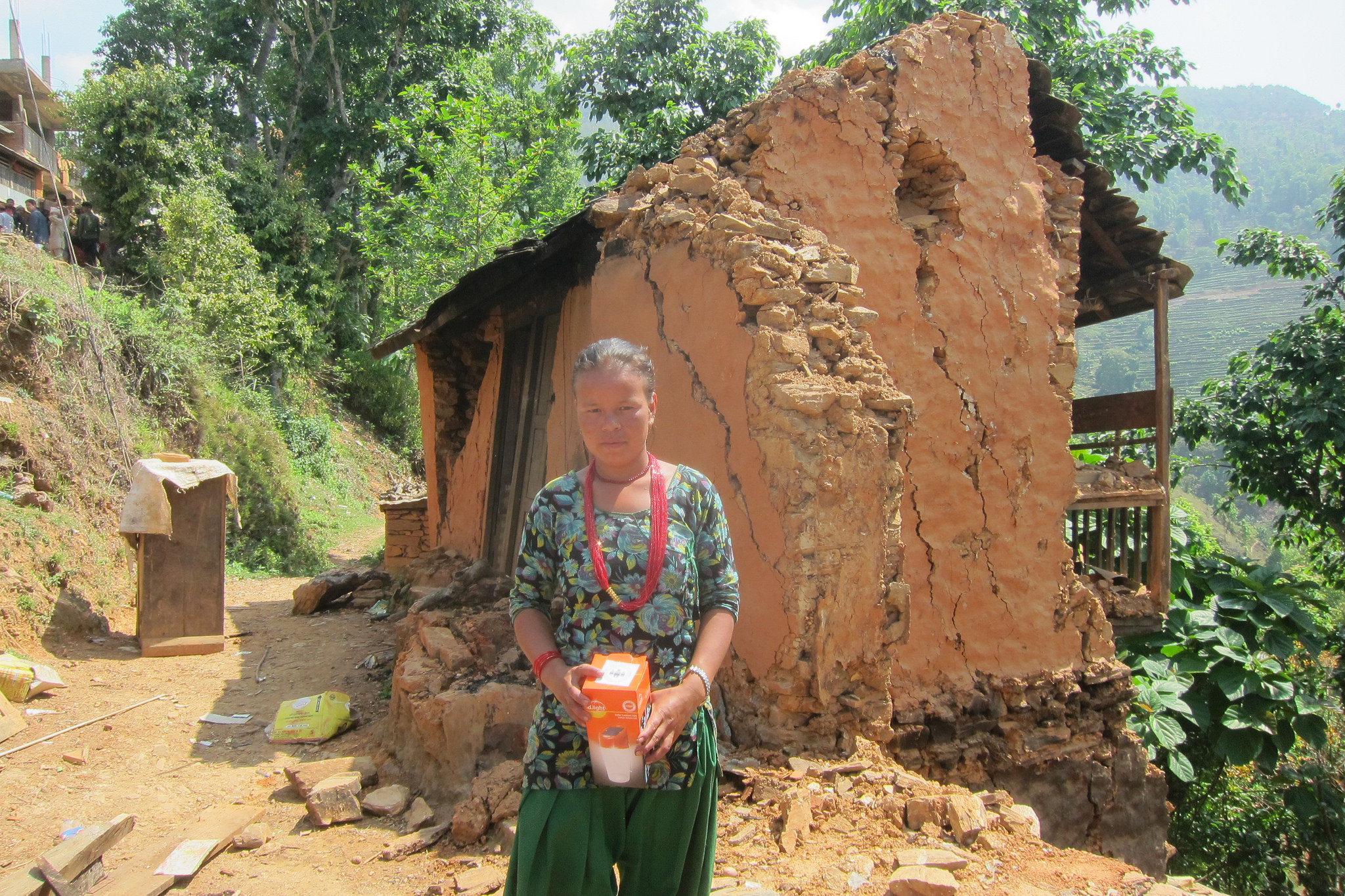 A survivor of the earthquakes, many homes are standing but require demolishing due to being too unsafe to live in.