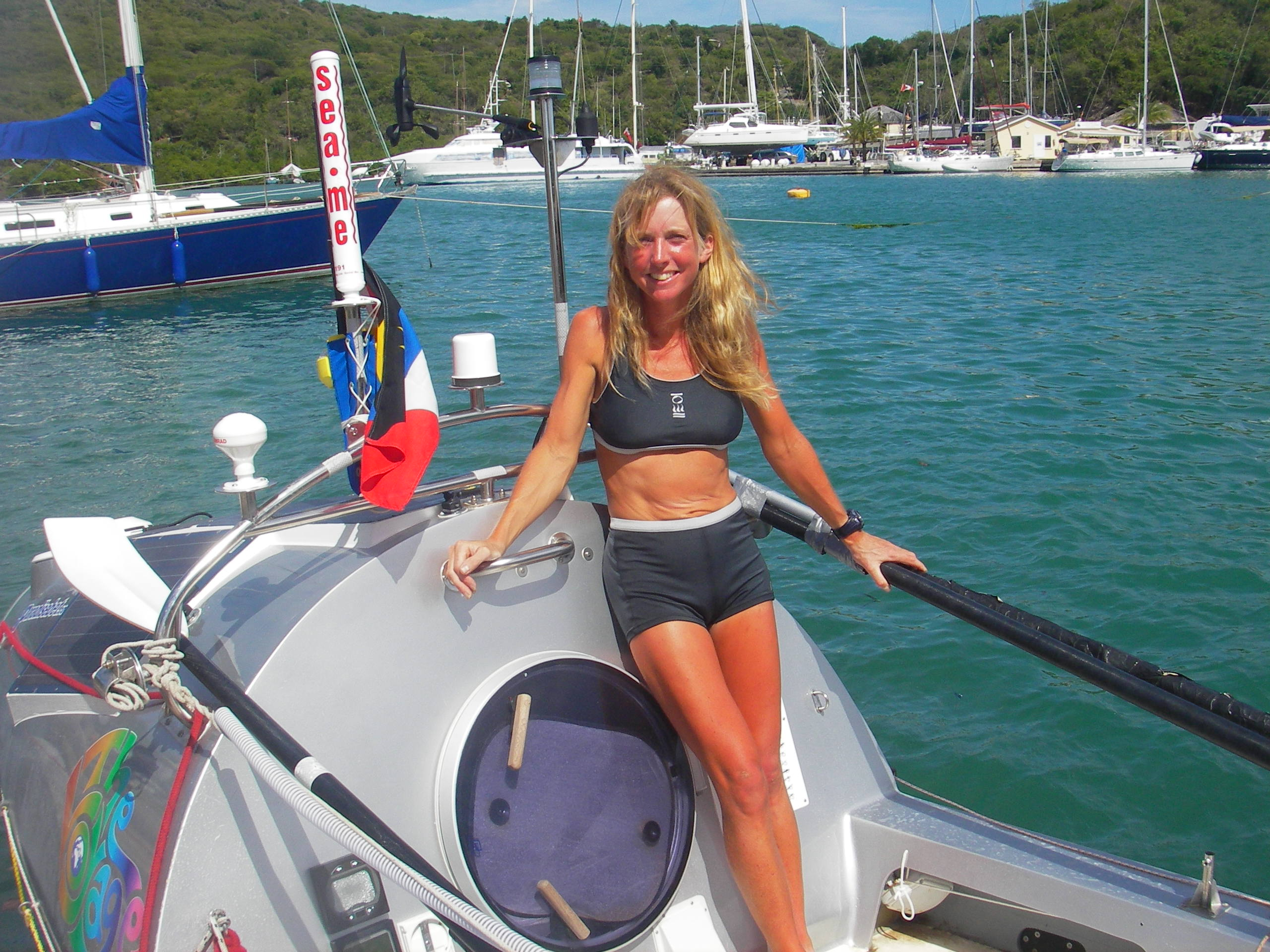 In 2005, Roz Savage rowed 3000 miles across the Atlantic Ocean - solo. Here she is on board Sedna Solo in Antigua. (Photo by Rita Savage)