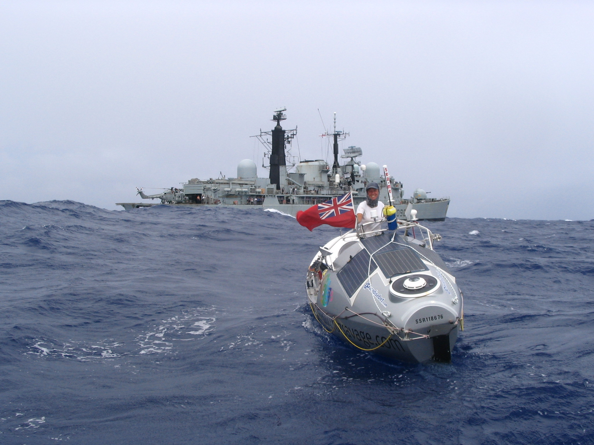 In 2005, Roz Savage rowed 3000 miles across the Atlantic Ocean - solo. Roz and HMS Southampton.   (Photo credit: the Royal Navy)