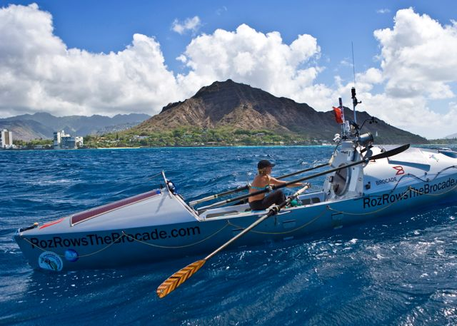 Roz Savage passing Diamond Head just before arriving in Honolulu Hawaii after rowing across the Pacific Ocean from San Francisco.